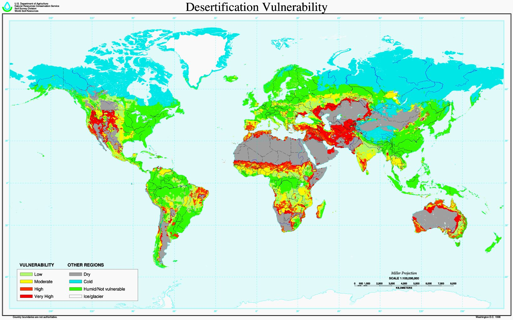Desertification world risk map