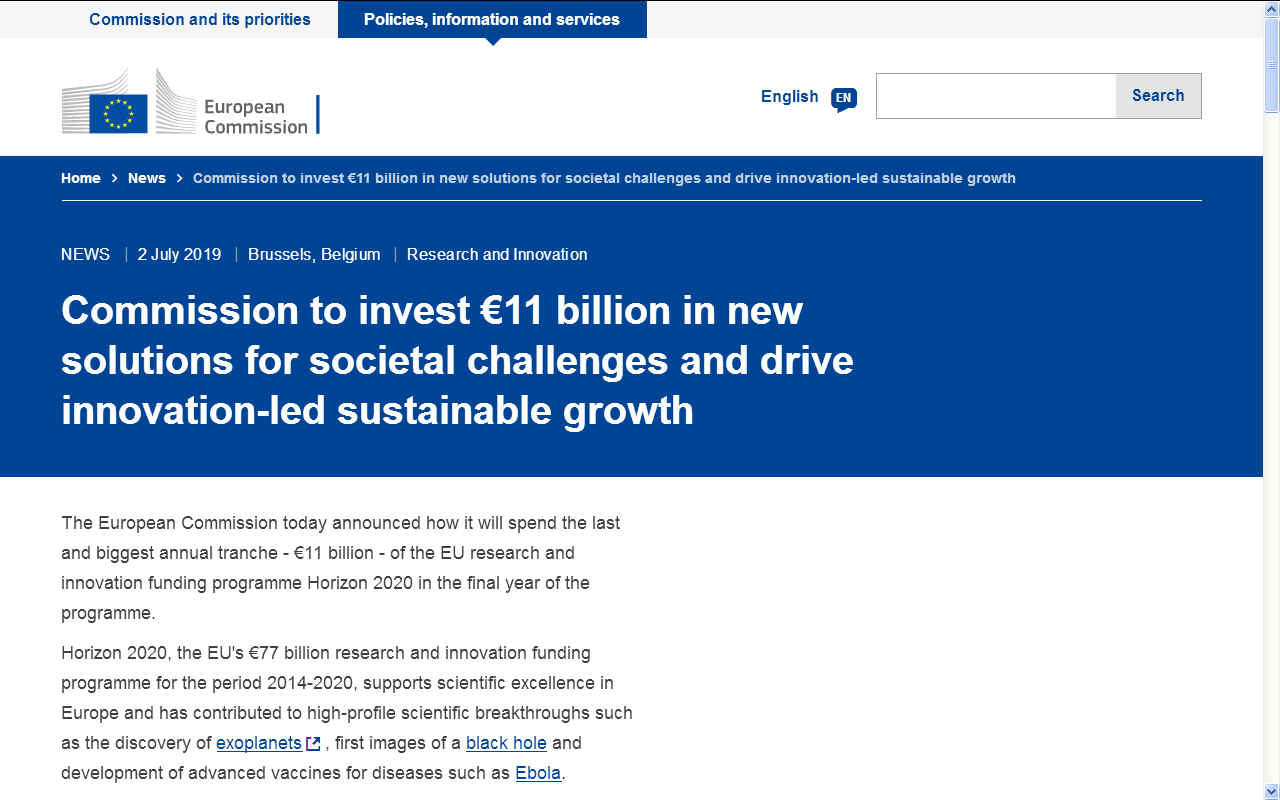 EU Commission to invest eleven billion euros looking for solutions to societal challenges
