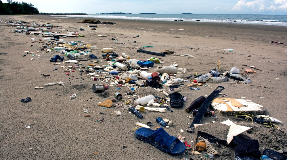 Beach plastic incoming tides of pollution