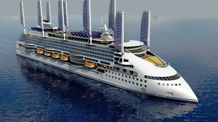 Solar and wind powered cruise ship with wing sails