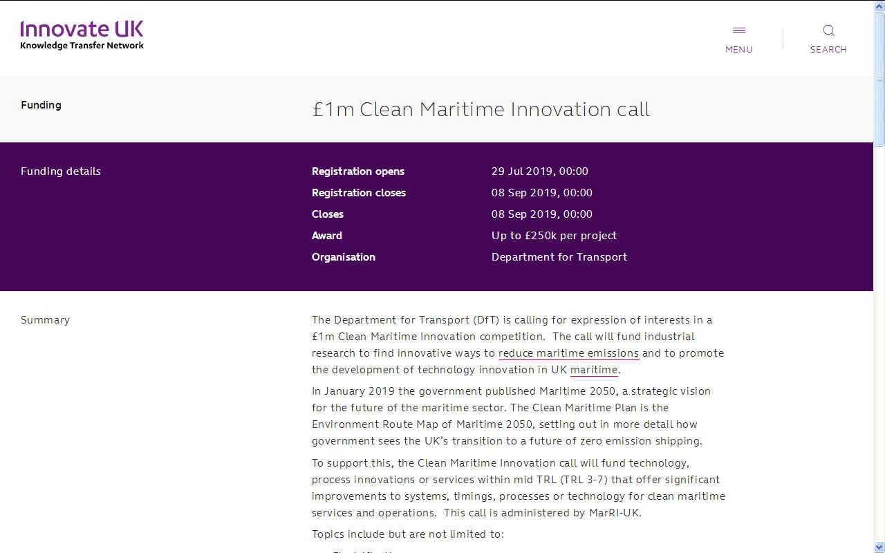 One £1,000,000 million pound maritime innovation call